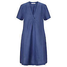 Buy John Lewis Linen V-Neck Dress, Coastal Blue Online at johnlewis.com