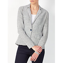 Buy John Lewis One Button Linen Jacket, Navy/White Online at johnlewis.com