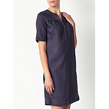 Buy John Lewis Linen Notch Neck Dress, Navy Online at johnlewis.com