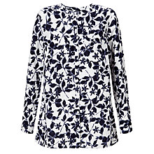 Buy John Lewis Smudge Floral Print Linen Collarless Shirt, White/Blue Online at johnlewis.com