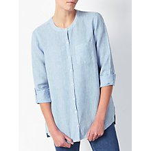 Buy John Lewis Linen Collarless Shirt, Pale Blue Online at johnlewis.com