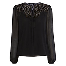 Buy Karen Millen Prarie Lace Top, Black Online at johnlewis.com
