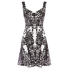 Buy Karen Millen Printed Velvet Dress, Black/White Online at johnlewis.com