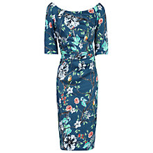 Buy Jolie Moi Retro Floral Print Half Sleeve Dress, Teal Floral Online at johnlewis.com