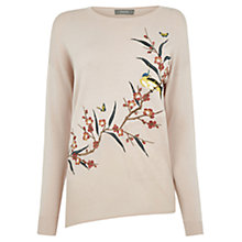 Buy Oasis Asymmetric Bird Jumper, Pale Pink Online at johnlewis.com
