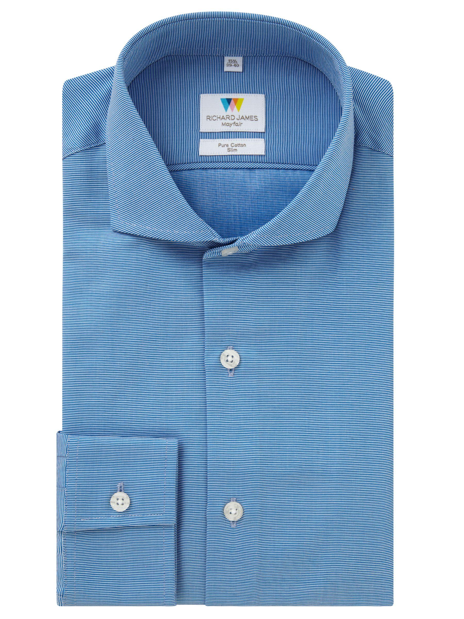 Richard James Mayfair Richard James Mayfair Ottoman Slim Fit Shirt, Blue/White
