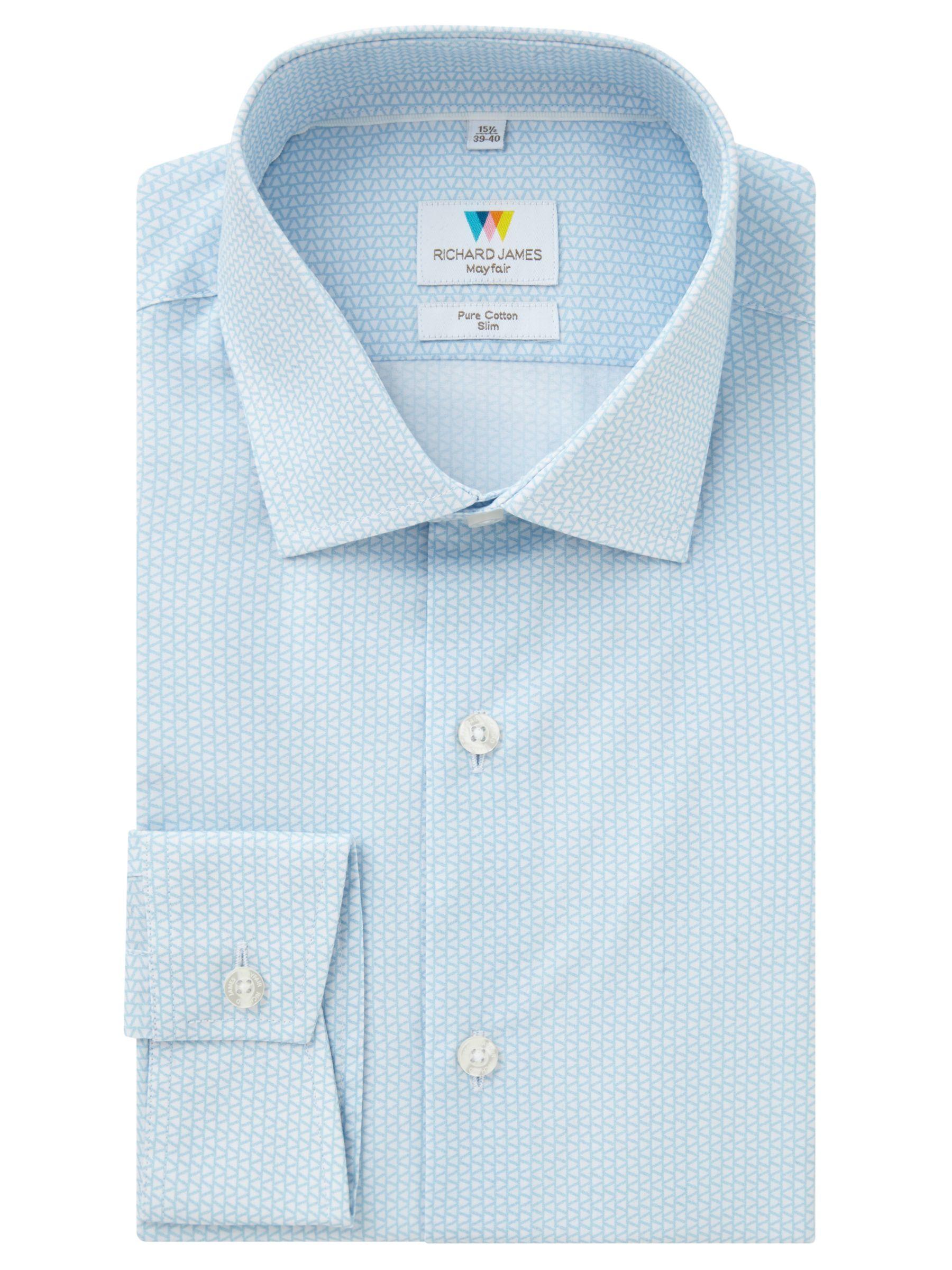 Richard James Mayfair Richard James Mayfair Print Slim Fit Shirt, Blue/White