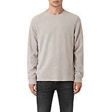 Buy AllSaints Crux Long Sleeve Crew T-Shirt, Taupe Marl/Ash Grey Online at johnlewis.com