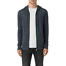 Buy AllSaints Mode Merino Wool Zip Up Hoodie, Workers Blue Marl Online at johnlewis.com