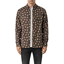 Buy AllSaints Wieppe Leaf Print Shirt, Umber Online at johnlewis.com