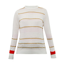 Buy Ted Baker Charlis Metallic Stripe Jumper, Bright Red Online at johnlewis.com