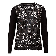 Buy Ted Baker Anlise Geometric Lace Front Jumper, Black Online at johnlewis.com