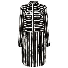 Buy Warehouse Stripe Torn Shift Dress, Black Online at johnlewis.com