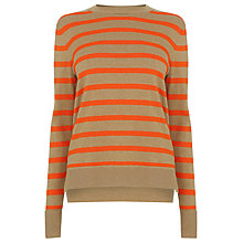 Buy Warehouse Stripe Boxy Crew Jumper, Red Online at johnlewis.com
