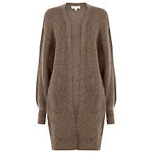 Buy Warehouse Blouson Sleeve Mohair-Blend Cardigan, Peach Online at johnlewis.com