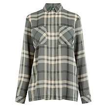 Buy Warehouse Easy Check Shirt, Grey Online at johnlewis.com