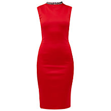 Buy Ted Baker Cadyee High Embellished Neck Dress, Bright Red Online at johnlewis.com