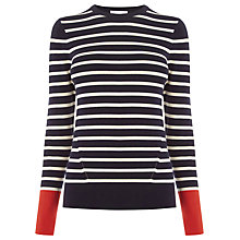 Buy Warehouse Block Stripe Jumper, Navy Online at johnlewis.com
