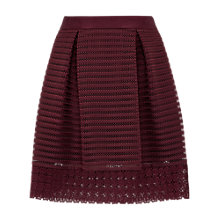 Buy Ted Baker Lace and Mesh Panelled Skirt, Oxblood Online at johnlewis.com