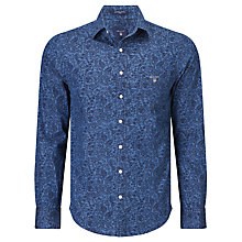 Buy Gant Leaf Print Indigo Fitted Shirt, Indigo Blue Online at johnlewis.com