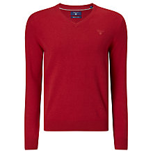 Buy Gant Lightweight Cotton V-Neck Jumper, Fire Red Online at johnlewis.com