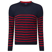 Buy Gant Breton Stripe Jumper, Clear Red Online at johnlewis.com