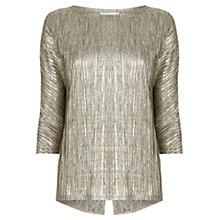Buy Oasis Pleated Foil Drop Sleeve Top, Gold Online at johnlewis.com