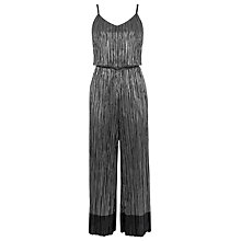Buy Warehouse Metallic Plisse Jumpsuit, Dark Grey Online at johnlewis.com