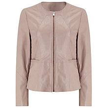 Buy Jacques Vert Leather Biker Jacket, Light Neutral Online at johnlewis.com