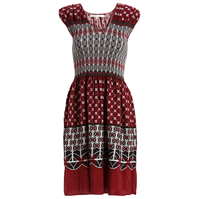 Max Studio Cap Sleeve Smock Detail Print Dress, Oxblood