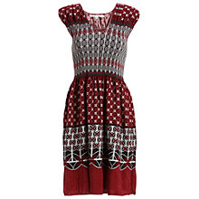 Buy Max Studio Cap Sleeve Smock Detail Print Dress, Oxblood Online at johnlewis.com