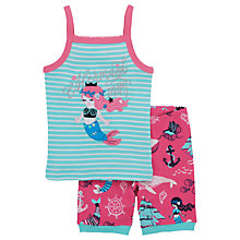 Buy Hatley Children's Sweet Mermaid Shortie Pyjamas, Aqua/Pink Online at johnlewis.com