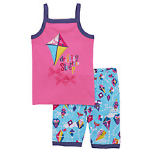 Buy Hatley Children's Colourful Kites Shortie Pyjamas, Pink/Multi Online at johnlewis.com