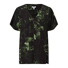 Buy Jigsaw x Antonio Curcetti Double Layer Silk Top, Military Green Online at johnlewis.com