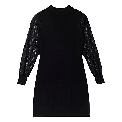 Precis Petite Alyssa Knit Lace Sleeveless Dress, Black