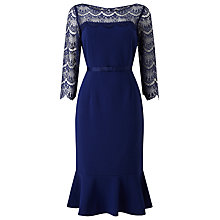 Buy Jacques Vert Lace Yoke Ponte Dress, Dark Blue Online at johnlewis.com