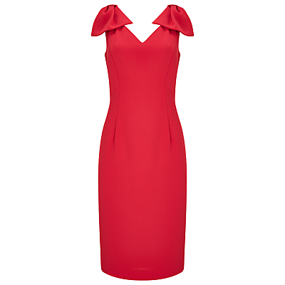 Jacques Vert Bow Detail Dress, Mid Red