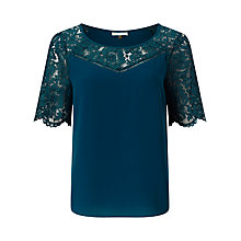 Buy Jacques Vert Lace Top, Mid Green Online at johnlewis.com