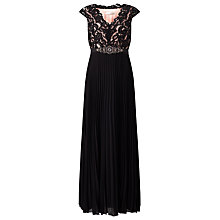 Buy Jacques Vert Lace Top Plisse Dress, Black Online at johnlewis.com