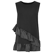 Buy Warehouse Satin Asymmetric Ponte Top, Black Online at johnlewis.com