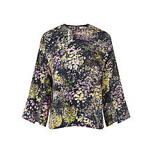 Buy Warehouse Winter Floral Split Sleeve Top, Blue Online at johnlewis.com