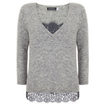 Buy Mint Velvet V-Neck Jumper With Lace Cami, Grey Online at johnlewis.com