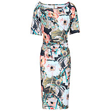 Buy Jolie Moi Retro Floral Print Half Sleeve Dress, Brown Online at johnlewis.com