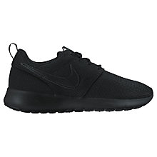 Buy Nike Children's Laced Roshe One Trainers, Black Online at johnlewis.com