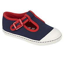 Buy John Lewis Children's Charlie T-Bar Shoes, Navy/Red Online at johnlewis.com