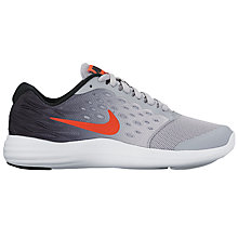 Buy Nike Children's Laced Lunarstelos Running Shoes, Wolf Grey/Max Orange Online at johnlewis.com