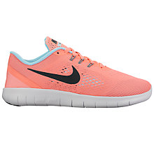 Buy Nike Children's Free Run Trainers, Lava Glow/Metallic Silver Online at johnlewis.com