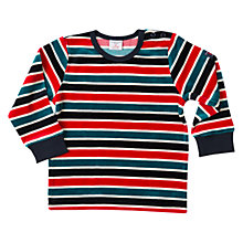 Buy Polarn O. Pyret Baby Striped Velour Top, Dark Sapphire Online at johnlewis.com