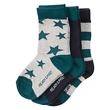 Buy Polarn O. Pyret Baby Striped Socks, Pack of 3, Deep Teal Online at johnlewis.com