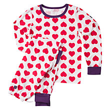 Buy Polarn O. Pyret Girls' Heart Pyjamas, Ski Patrol Online at johnlewis.com